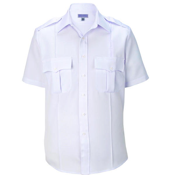 Police security white polyester shirt short Sleeve